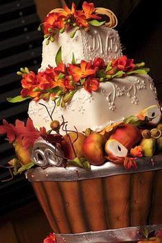 wedding cake toppers, fall wedding cakes, idea, beauti cake, autumn cake, cake design, fall cakes, autumn weddings, fall weddings