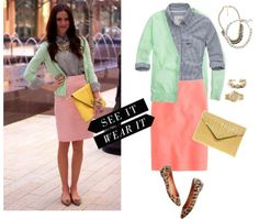 Spring work outfit, pastels, leopard flats