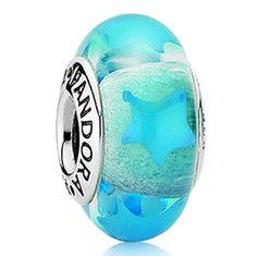 Pandora Blue Stars Murano Glass