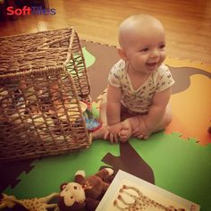 "Happy customer Weston, enjoying his new SoftTiles Interlocking Dinosaur Foam Mats.  ""We actually just started using the tiles last night and LOVE them!""- Karlie  Each of the foam tiles is a 2 foot square, so the dinosaur pieces are very large. This SoftTiles Dinosaur set is 8 pieces and can be used to create a play mat or combined with more SoftTiles 2x2 foam mats to create a large kids playroom floor. http://www.softtiles.com/index.php?option=com_virtuemart&Itemid=136  #playroom   #kidsdecor"