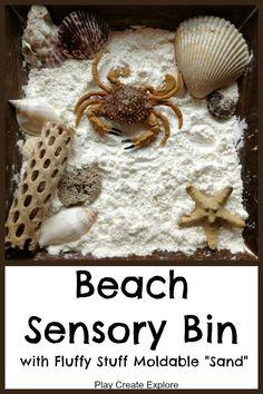 Beach Sensory Bin with Fluffy Stuff Moldable Sand