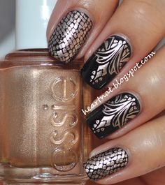 Black and Copper Tribal Print