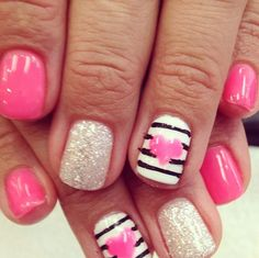Love the pink and silver good valentines day nail idea