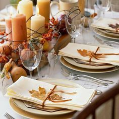 Complete your Thanksgiving table by incorporating fallen leaves from your own backyard.