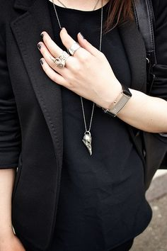 black on black   accessories. http://www.collegefashion.net/fashion-tips/ask-cf-how-do-i-change-up-an-all-black-work-uniform/ find more women fashion ideas on www.misspool.com