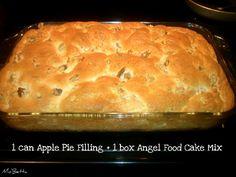 2-ingredient Apple Angel Food Cake pinapple cake, appl angel, apple angel food cake, 2ingredi appl, 2 ingredient apple cake, apple cakes, food cakes, apple pies, using dry angel food cake mix