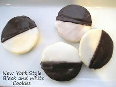 """New York Style """"Black and White"""" Cookies adapted from The America's Test Kitchen Family Baking Book. The story behind the black and white cookies begins with the earlier days when bakeries would make the cookies out of leftover cake batter... The batter is similar to that of a soft cake."""