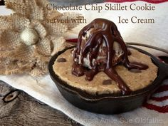 Raw Chocolate Chip Skillet Cookie served with Ice Cream