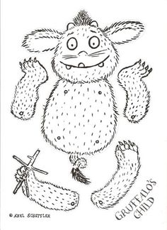 Baby Gruffalo Print Out, all that's needed are a few brass brads and some colour!