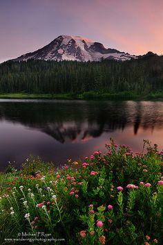Reflection Lakes in Mt Rainier National Park - Washington State - USA