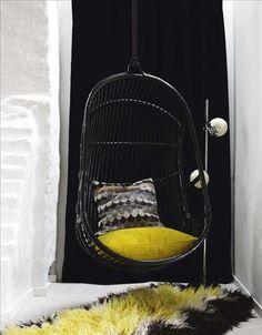 swing seat, cushions + rug   Darling Things