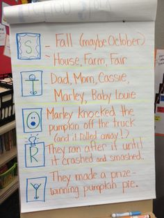 Learning Fiction Text Structure with S.T.O.R.Y! -This STORY Chart - shows it used w/ Marley and the Runaway Pumpkin