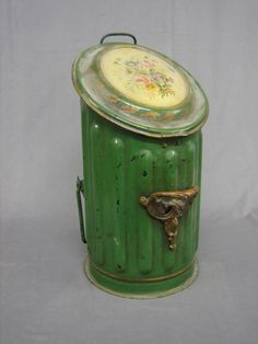Victorian green tole painted cylindrical metal coal box