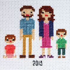 family portrait in cross stitch-->>several free patterns to help you stitch up your own family!