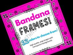 FRAMES - Bandana Pattern - Personal & Commercial use from Moonlit Productions on TeachersNotebook.com -  (12 pages)  - Everything you need to make professional looking, gorgeous frames for your classroom or digital teaching resources! 12 different colors to choose from