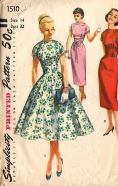 1956: One piece dress with two skirts