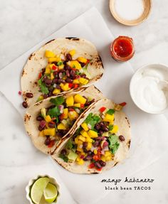 Because it's September and still too hot for a stove: Mango Habanero Black Bean Tacos