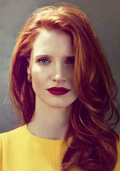 jessica chastain, hair colors, ginger, red hair, red lips, lip colors, hairstyl, redhead, actress