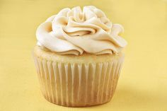 vanilla almond cupcake with salted caramel buttercream