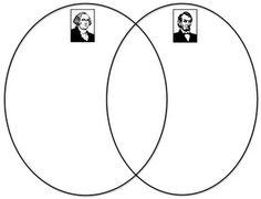 George Washington/Abraham Lincoln Venn diagram - free printable for Presidents' Day