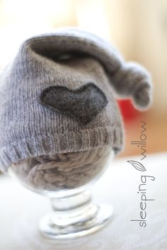 Upcycled Lambswool Grey Floppy Knot Top - dark grey heart patch