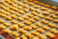 Homemade goldfish and a homemade goldfish shaped cookie cutter. We will have to try these!