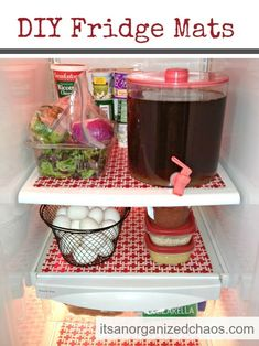 Plastic placemats in the fridge for easy cleaning.