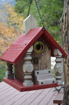 Unique Old World Church Vintage Spindle Pillars White Washed Bird House