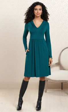 Teal A Glance: V-Neck Pintucked Dress in Deep Teal #SomaIntimates #deepteal
