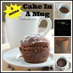 Make your wildest chocolate fantasies come true with this cake in a mug. It takes only five minutes to make from start to finish! It's the bomb dot com Bakerette.com