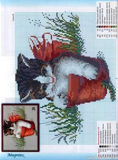 kitten, stitch cat, flower pot, crossstitch