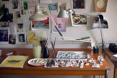 Maira Kalman's desk, where she paints. Photograph by Thessaly La Force.