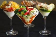 """Mashed Potato """"Mash-tini"""" appetizers  (mashed potatoes, sour creme, bacon, cheese, ham, broccoli, red peppers...)  The options are endless!"""