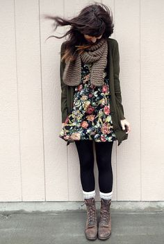 floral dress, black leggings, white socks, brown lace-up boots, knitted light brown scarf, green cardigan