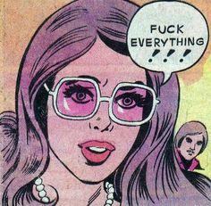purple hair, pulp art, pop art, fuck, glass, thought, art pop, comics, popart