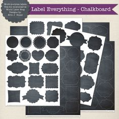 Free editable label frames, 36 to choice from in a Chalkboard theme.