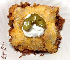 Low-carb, gluten-free, Keto friendly Taco Bake with Savory Crust by Paper Potion Studio.