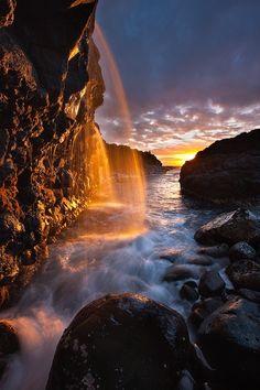 hawaii travel, waterfal, sunset, kauaihawaii, princevill