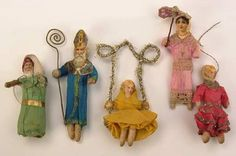 Wonderful!  Antique German spun cotton ornaments