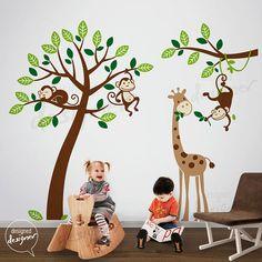 Tree Wall Decals Monkeys and Giraffe wall by DesignedDesigner, $149.00