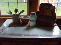 Love my old enamel table