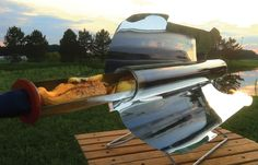 GoSun solar stove cooks your food in a tube, retaining almost 90% of heat energy concentrated on it and reaching 550 degrees F in minutes. Brilliant!