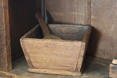 Here is a great early wood canted box with old wood scoop. Has original square nails as shown in the photos. Great wear and patina. It was
