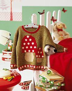Pull tricoté au point de jersey avec un motif de champignons rouges et blancs