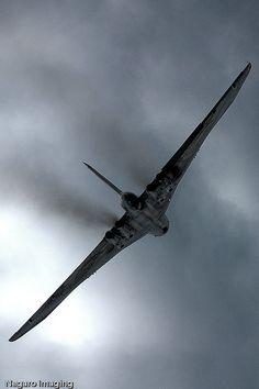 Avro Vulcan climbs towards the clouds by Martyn @ Negaro, via Flickr