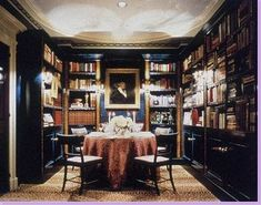dark and cozy library/dining room