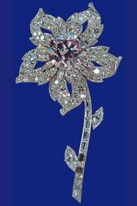 The Williamson Diamond brooch    Cartier, London    The central diamond of 23.6 carats is the finest pink diamond in existence. It was excavated from a mine in Tanganyika (Tanzania) belonging to the Canadian geologist Dr John Williamson, who gave it as a wedding present to Princess Elizabeth in 1947. It was cut by Briefel and Lemer of London in 1948 and set in the centre of a new brooch designed by Frederick Mew of Cartier in 1952.