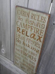 Cabin or Lake  Rules Sign Typography  subway sign by Wildoaks, $27.00