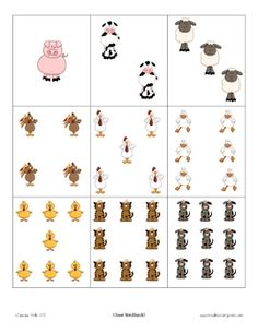 Simple number recognition activity using barnyard animals and number cards.