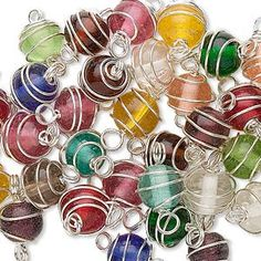 Lot of 25 Round WireWrapped Glass Beads / Links  by BestBuyDesigns, $3.89